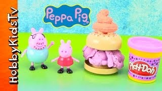 Peppa Pig Makes Play-doh Lego Ice Cream Sandwich For Daddy Pig! George Pig Duplo By Hobbykidstv