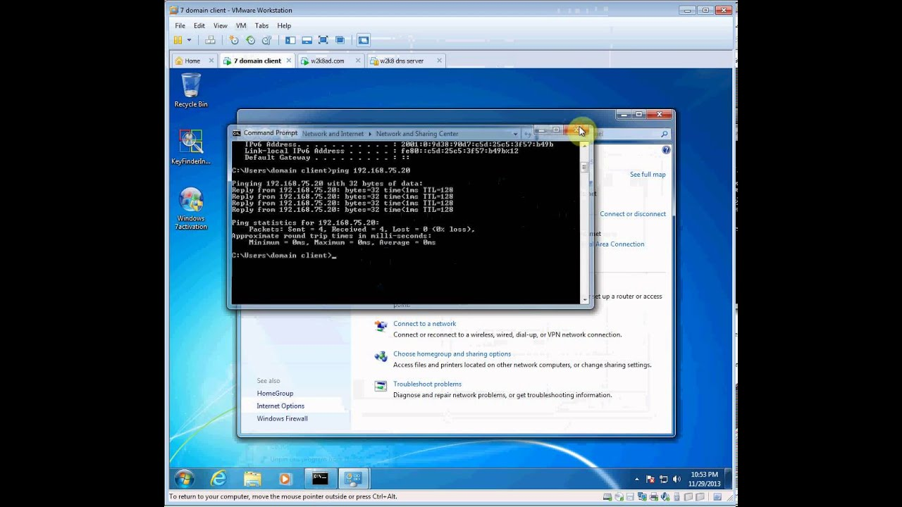 2008r2 server adding a windows 7 domain client in vmware for Consul server vs client