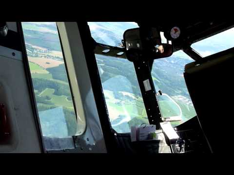 Dropping of Parajumpers, steep descent and landing in a Pink Aviation Shorts Skyvan