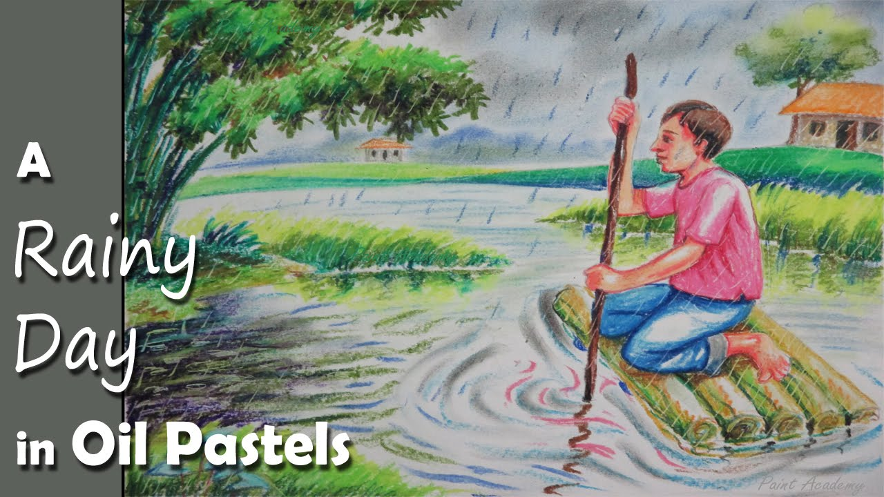 How to Paint A Rainy Day Scene with Oil Pastel - YouTube Rainy Day Drawing Competition