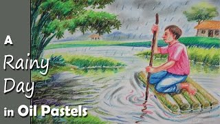 How to Paint A Rainy Day Scene with Oil Pastel