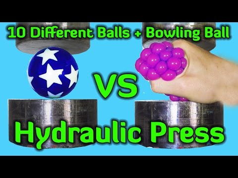 Thumbnail: Crushing 10 Different Balls + Bowling Ball with Hydraulic Press
