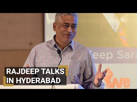 Rajdeep Sardesai addressing the gathering during 'Media in News' session at Hyderabad