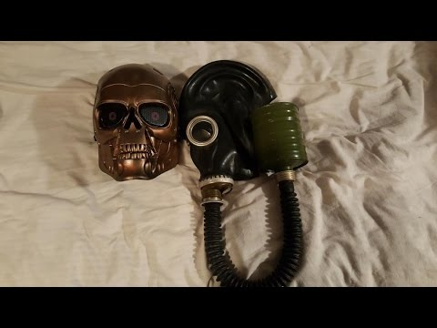 BudK - Russian SCHM-41M (GP-5) Gas Mask and ABS Skeletal Bronze Mask