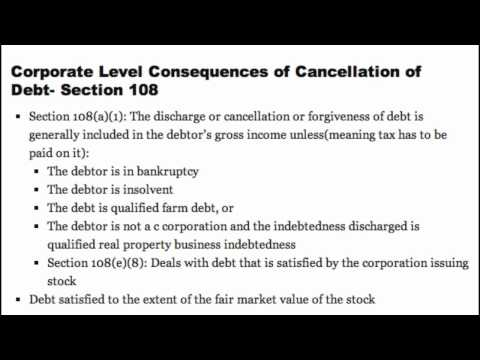 Corporate Level Cancellation of Debt- Section 108