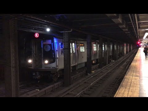 NYC Subway HD 60fps: R160 E Train Crossing Over From Express to Local @ Canal Street (8/27/17)