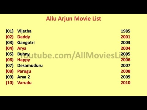 allu arjun movies list youtube