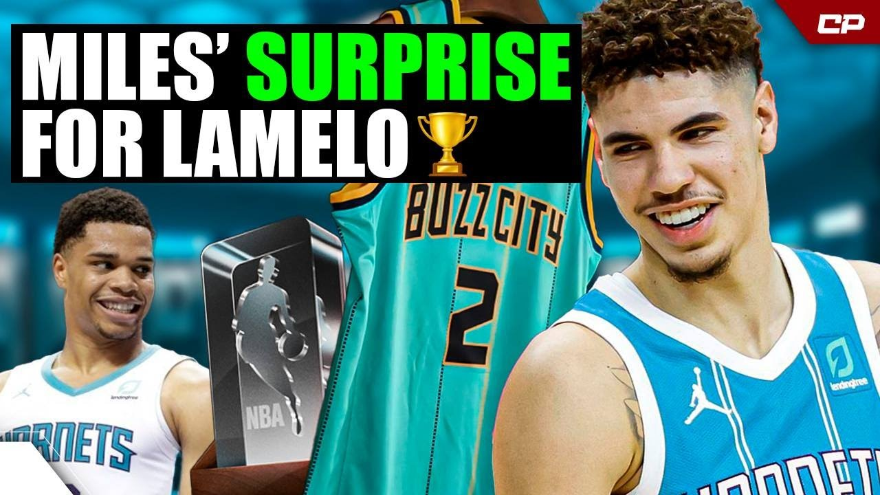 LaMelo Ball Got SURPRISED By Miles Bridges With The ROTY Trophy🏆 | Highlight #Shorts