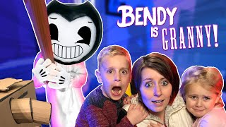 Bendy plays Granny in REAL LIFE! (Escaping the Ink Machine Game) KIDCITY
