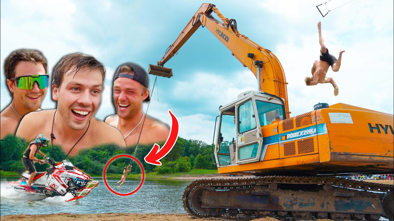 Excavator Rope Swing of Death (We're The Coolest Kids I Know)