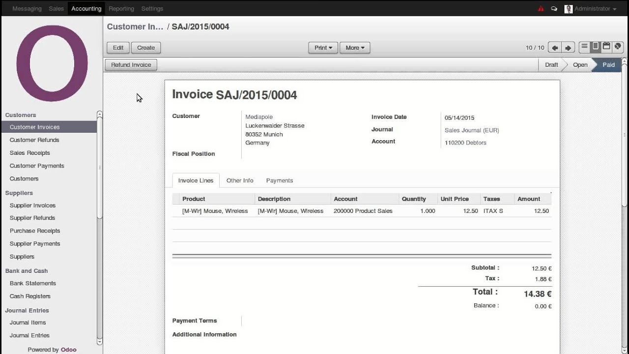 accounting unreconcile and cancel paid invoice odoo youtube