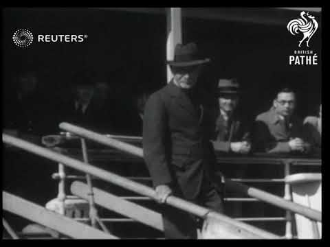 Lord Baden Powell arrives in Southhampton (1938)