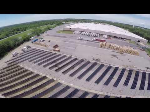 President Container Solar Farm Installation Drone Video