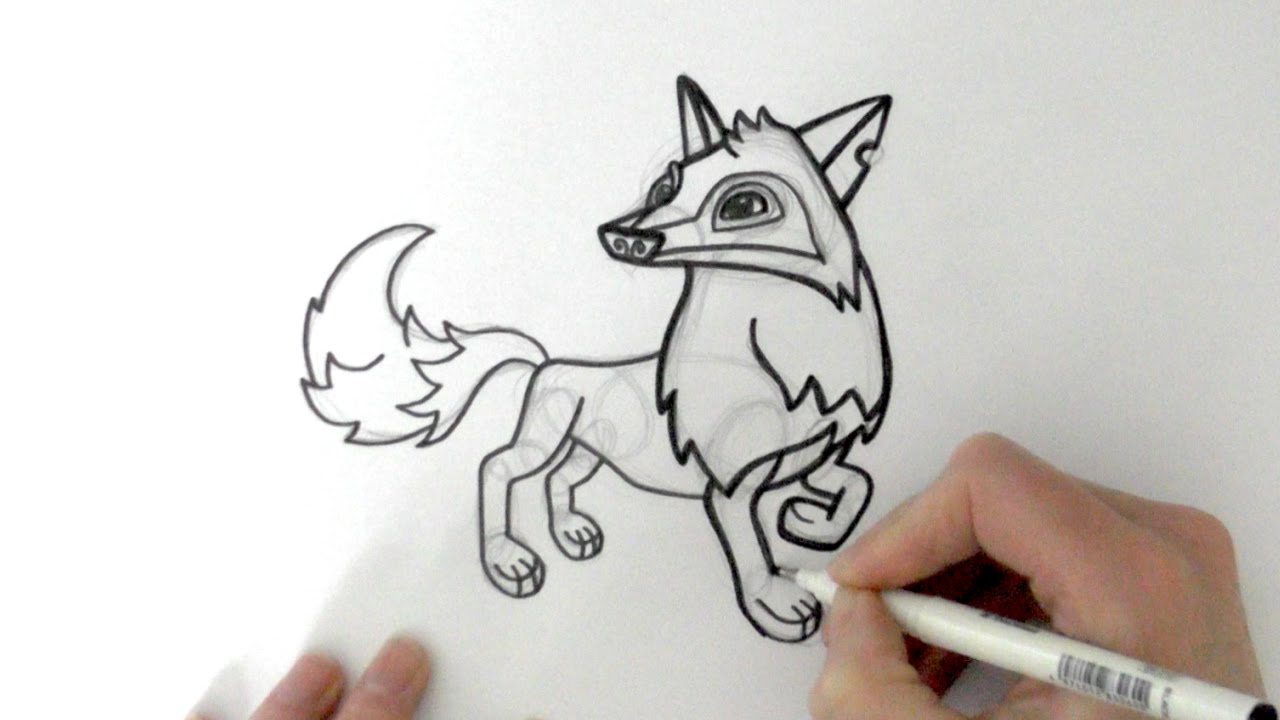 how to draw a cartoon arctic wolf from animal jam zooshii style youtube