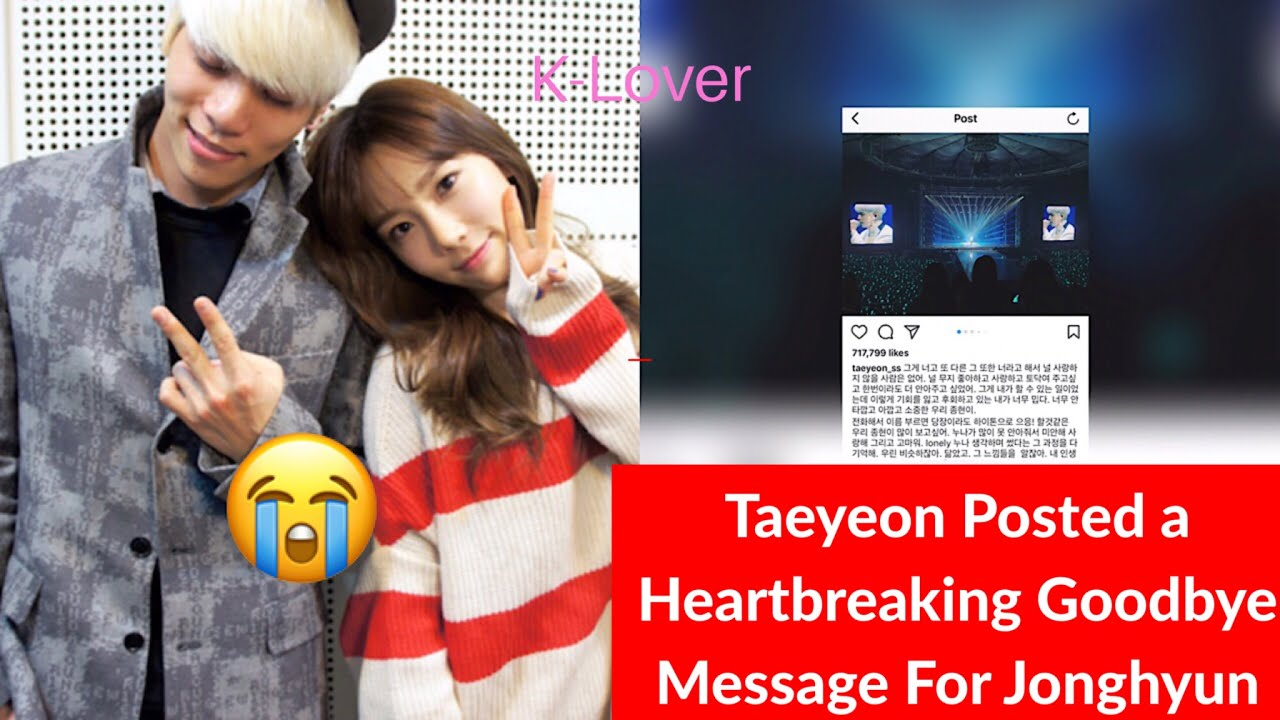 """Download Taeyeon's Heartbreaking Post About Shinee's Jonghyun """"I'll make sure you aren't lonely..."""""""