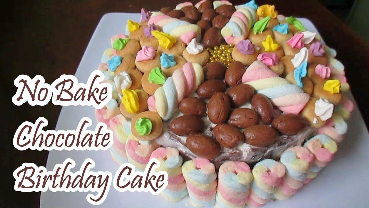 No Bake Chocolate Birthday Cake Youtube