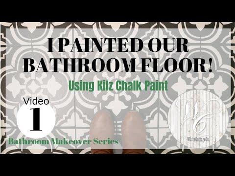 Painted Floor ~ Stenciled Bathroom Floor ~ Moroccan Mosiac Tile
