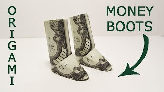 Money BOOTS (Uggs) Origami shoes Dollar Tutorial DIY Folded No glue and tape