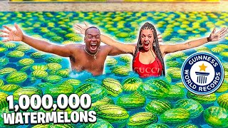 FILLING OUR SWIMMING POOL WITH 1,000,000 WATERMELONS!!
