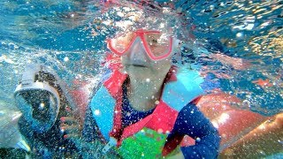 ADLEY SWIMS WITH FISH!! Family Snorkel Routine in Hawaii - she is a pretend mermaid!