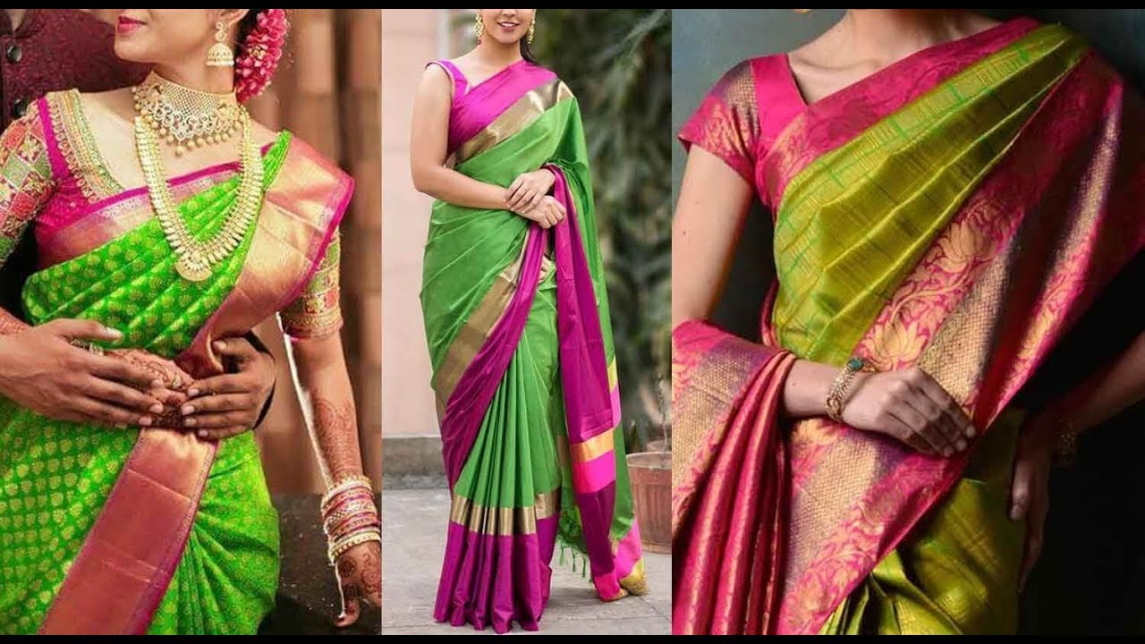 d2412e29ad Green Kanchipuram Designer Silk Sarees and Blouse Color  combinations|Million Designs