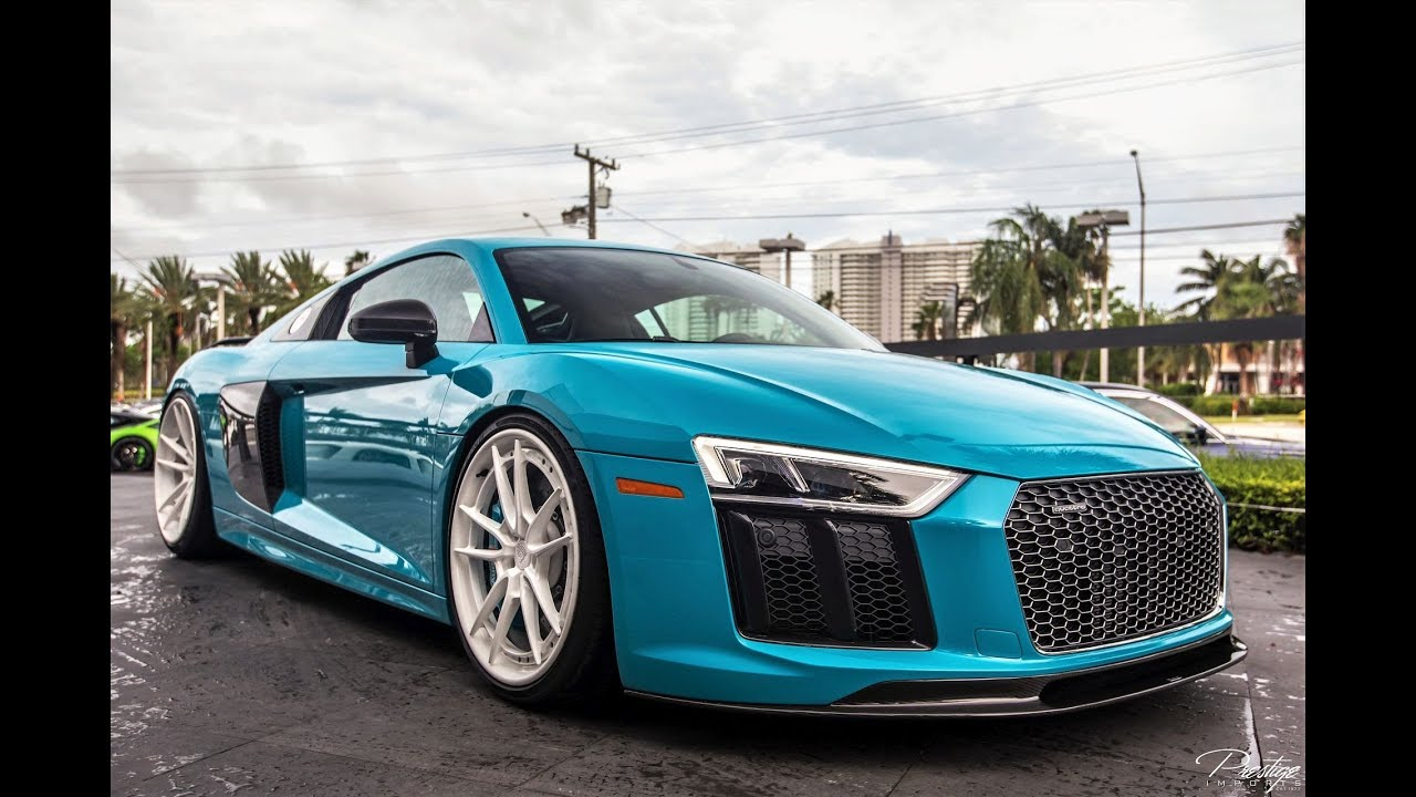 Audi R V In Exclusive Miami Blue Exterior HP Sound - Audi miami