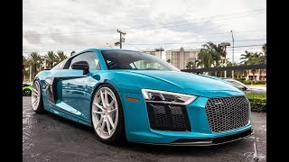 2017 Audi R8 V10 in Exclusive Miami Blue Exterior 610 HP Sound - Drive at Prestige Imports Miami