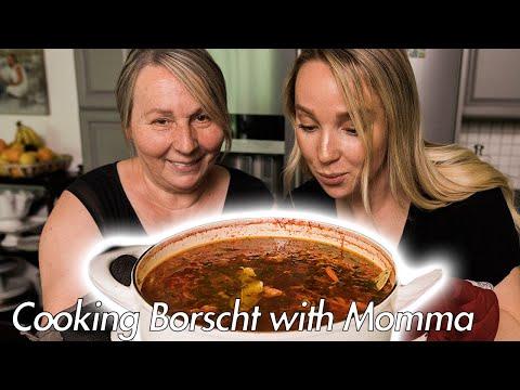 Momma Cooks Borscht (Ukrainian Beet Soup)