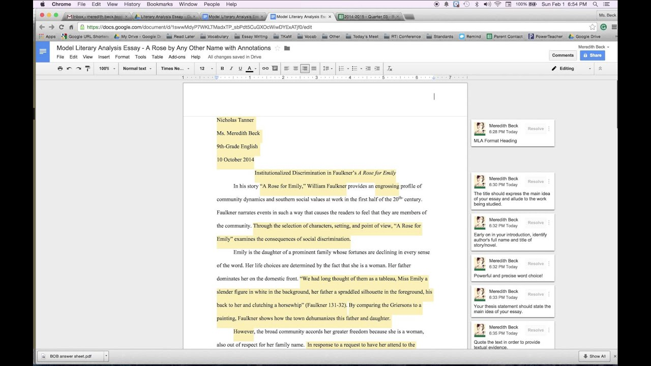 How To Add An Mla Format Header On Google Docs Youtube
