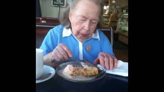 Grandma Betty Eating Rhubarb Pie