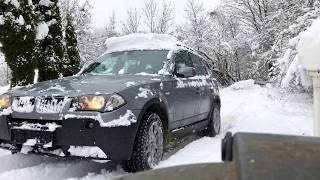 BMW X3 E83 3.0d Struggles on a 20% Slope in Snow and Slides Into the Camera