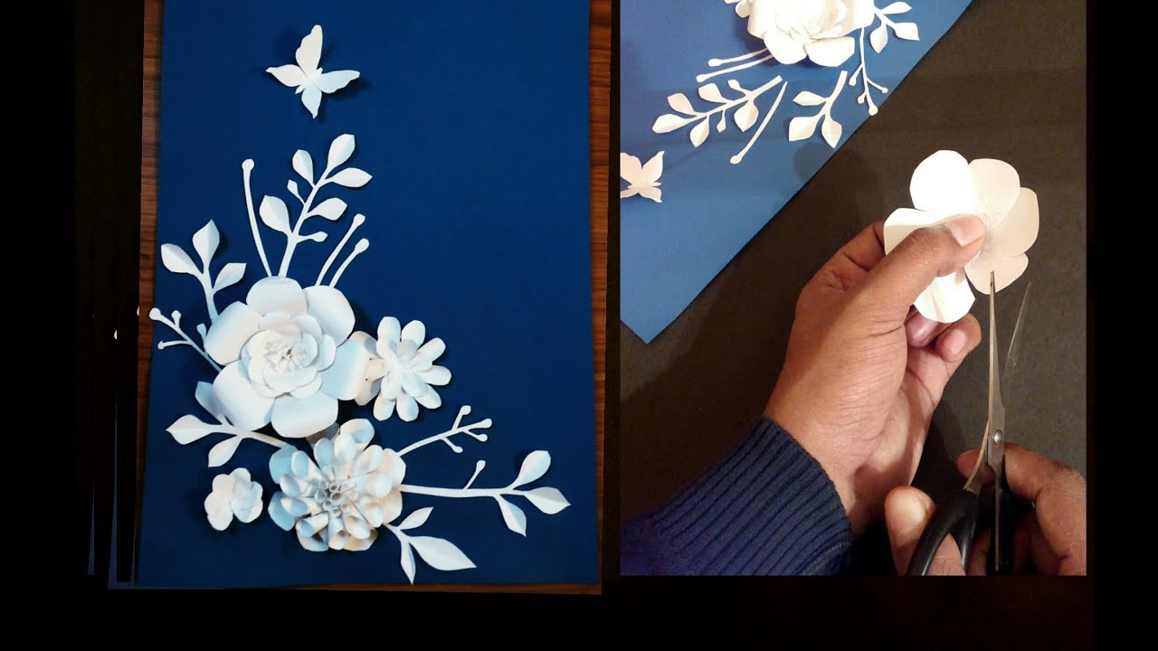 Diy Flowers Design Birthday Card Paper Crafts Handmade Craft Youtube