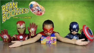 Superhero BEAN BOOZLED CHALLENGE Jelly Belly Fun Games With Supergirl Ironman  Ckn Toys