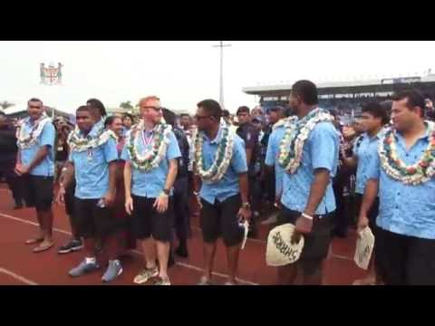 Fijians celebrate the homecoming of Fiji's first Olympic Gold Rugby Sevens Heroes.