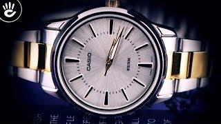 Review Đồng Hồ Casio LTP-1303SG-7AVDF các chi tiết mạ vàng phần vạch số kim chỉ giây