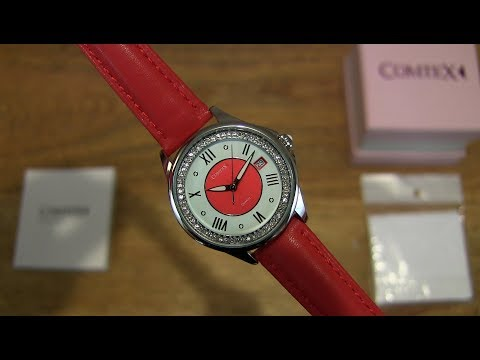 COMTEX Womens Watch with Red Leather Strap SYL140063-4WRED