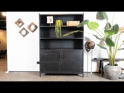 Boekenkast Industrieel Jada metaal 2 deurs