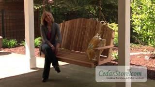Red Cedar Blue Mountain Fanback Porch Swing From Cedarstore.com
