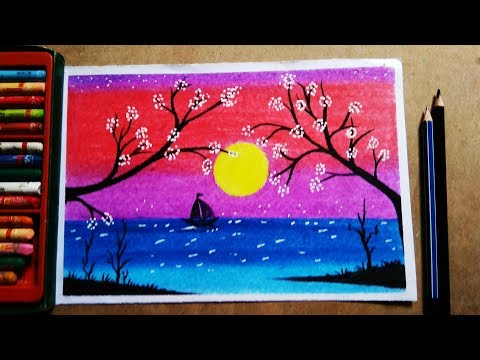 Beautiful sunset by oil pastel color painting | with trees and landscape