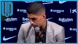 """El delantero uruguayo se despide del Barça """"orgulloso"""" y entre lágrimas, en una breve ceremonia"""