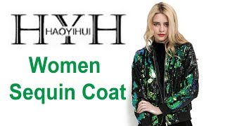 HYH HAOYIHUI Autumn Women Sequin Coat || Women Jacket  || Best Ladies Blazers  ||