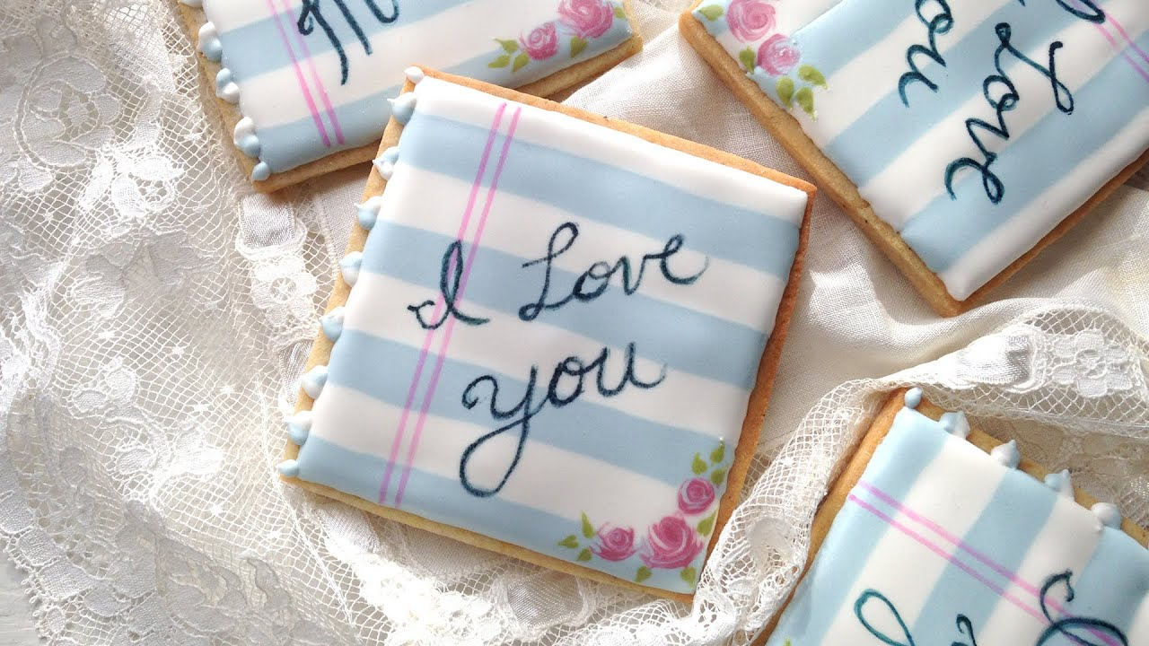 How To Decorate Love Note Cookies For Valentines Day Youtube