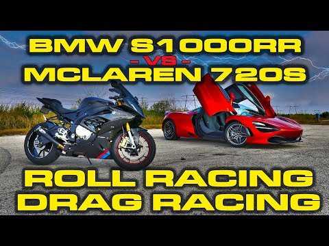 Superbike Vs Supercar - BMW S1000RR Motorcycle Vs McLaren 720S Drag Racing And Roll Racing - 6 Races