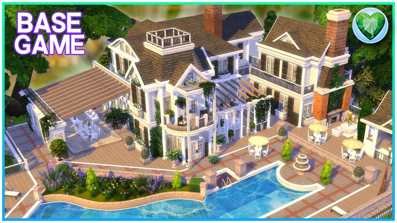 YES, IT'S BASE GAME ONLY! 😍 Base Game Mansion [No CC] - Sims 4 Speed Build | Kate Emerald