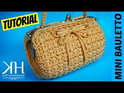 "TUTORIAL MINI BAULETTO ""Vintage"" in FETTUCCIA | Uncinetto/Crochet || Katy Handmade"