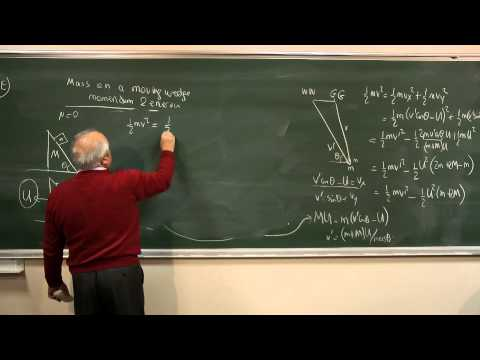 Mass on a moving wedge: analysis with energy-momentum arguments