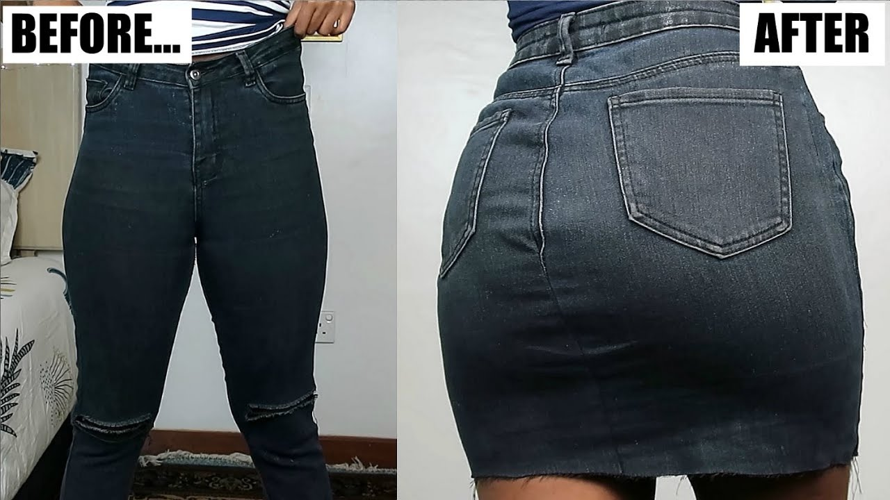 [VIDEO] - Super Easy Way To Turn Your Old Jeans Into A Denim Skirt! 1