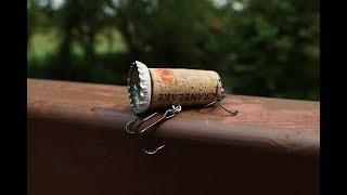 Homemade bottle cap fishing lure challenge!