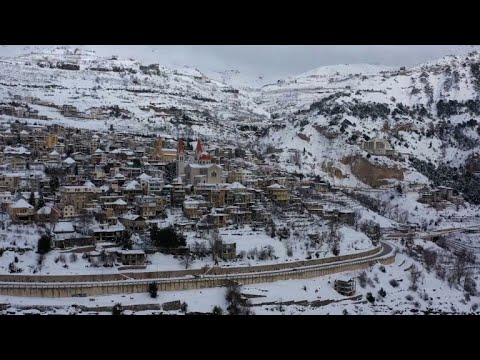 Lebanese mountains blanketed in snow