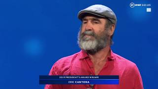 Eric Cantona gives a bizarre yet brilliant speech after picking up UEFA President's Award!